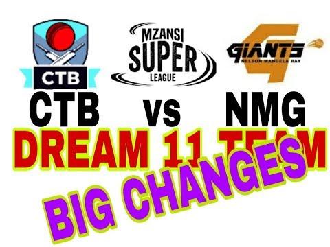 CTB VS NMG Mzansi Super League| South Africa T20 league| Dream11 Team| Playing 11| Team News