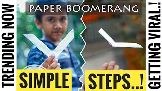 World's Best and Simple PAPER BOOMERANG....!!![2017 version]