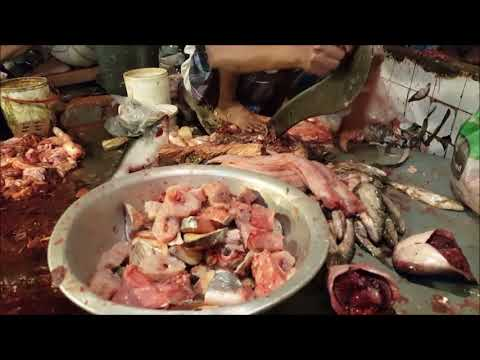 Indian long fin eel Fish Cleaning, Remove Skin vesves Cut Into Pieces In Fish Market | Part 02