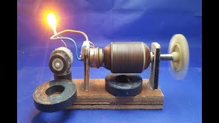 Free energy generator dc motor  with Dynamo , DIY experiment generator at home 2018