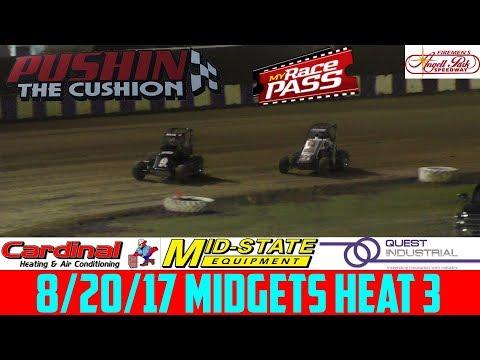 Angell Park Speedway - 8/20/17 - Midgets - Heat 3