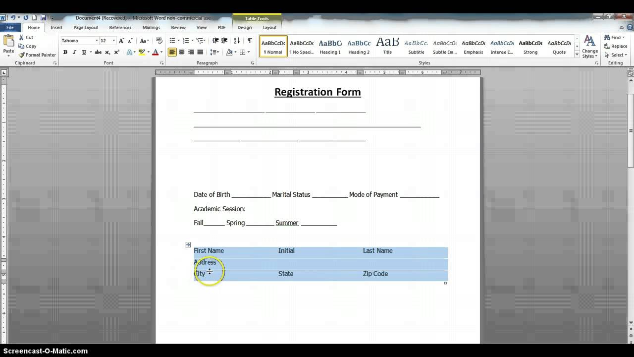 how to create a fillable form using ms word 2010 part 1 youtube