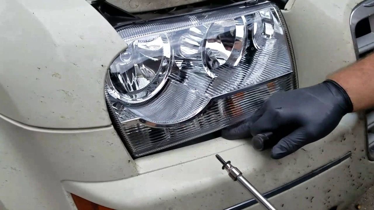 how to replace a 2007 chrysler 300 headlight without taking off the bumper  [ 1280 x 720 Pixel ]