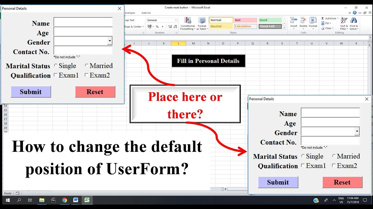 Excel VBA - Change the position of UserForm on start-up