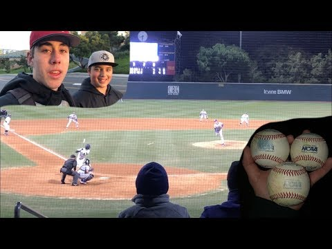 Snagging baseballs at a College game!