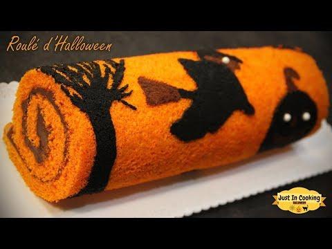 recette-de-roulé-imprimé-d'halloween-chocolat-vanille