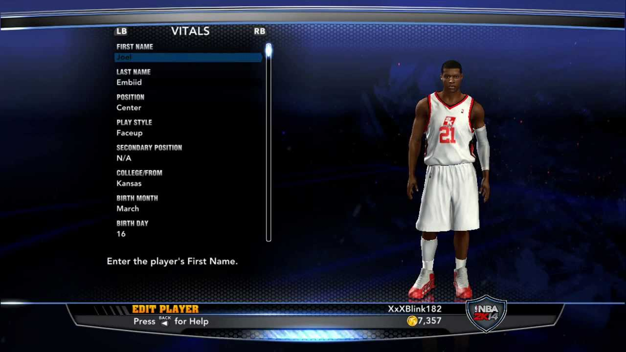 How to create Joel Embiid on NBA 2K14 - YouTube