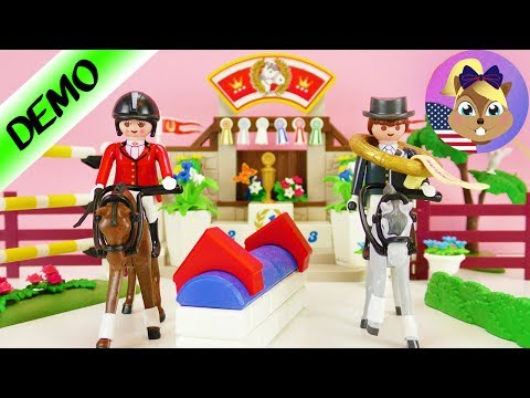 PLAYMOBIL Horse Show   Show jumping with obstacles and golden trophy!   Unboxing 5224