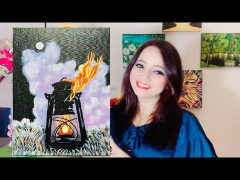 🎨🖌Step by Step Light Lamp (Lantern) Painting for Beginners / Acrylic Painting Tutorial