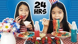We Only Ate RED, WHITE & BLUE Foods For 24 HOURS!