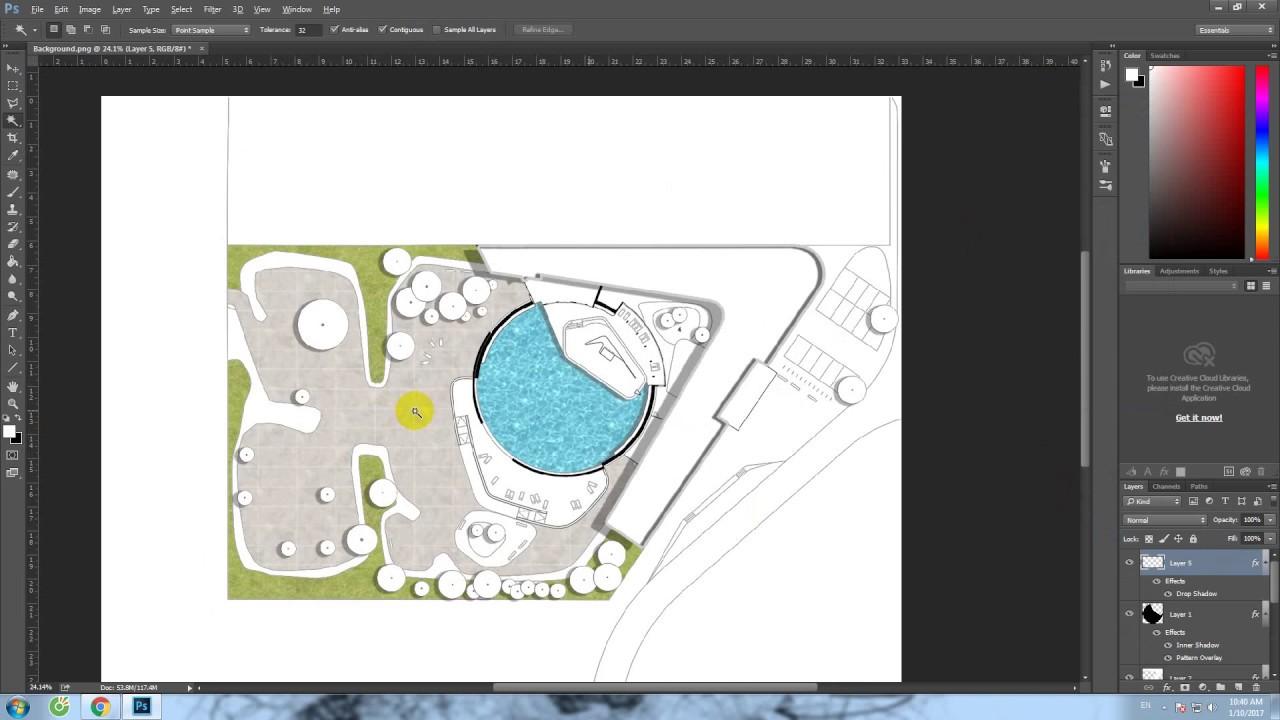 Architecture plan photoshop tutorial  . Làm mặt bằng tổng thể trên photoshop .