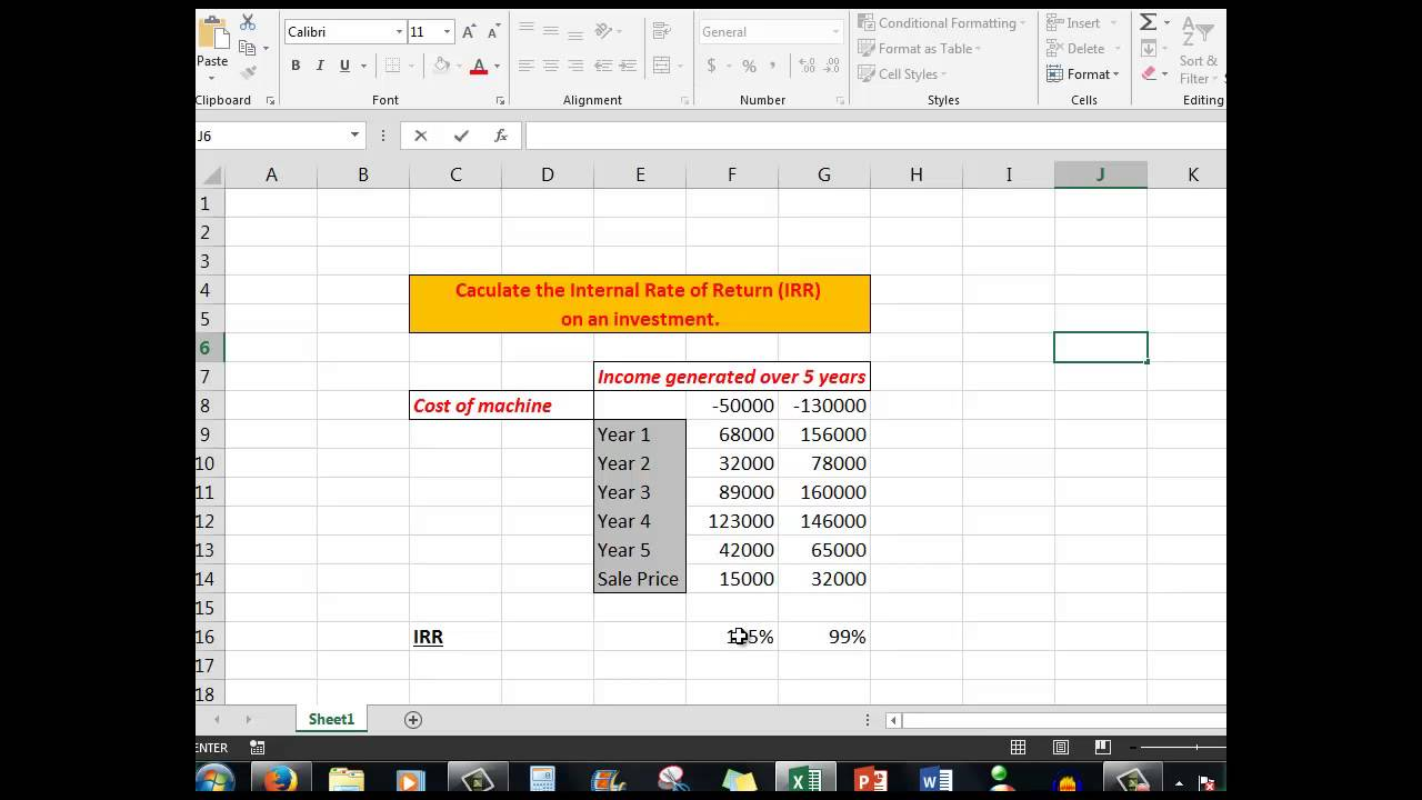 Excel advanced tutorial calculating irr the internal rate of excel advanced tutorial calculating irr the internal rate of return on an investment alramifo Images