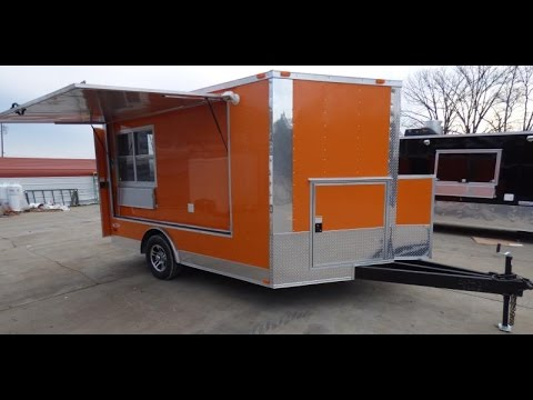 Concession Trailer 8.5' x 12' Orange Catering Event Food Trailer