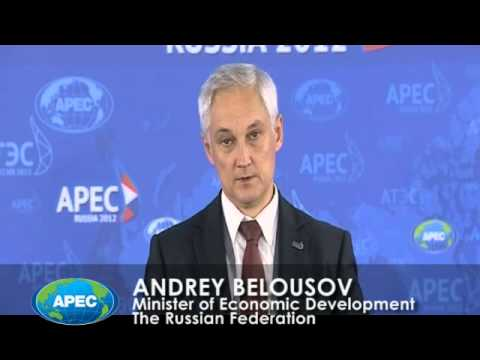 Russian Minister of Economic Development, Andrey Belousov, opens AMM 2012 press conference