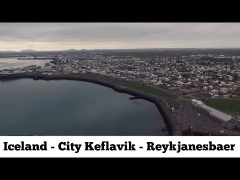 Iceland :  City Keflavik – Reykjanesbaer drone fly over the city aerial video