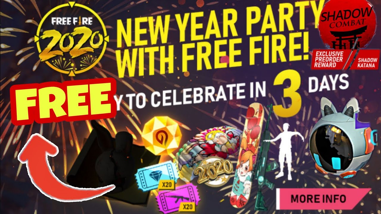 New Year Party Free Fire 2020 Full Details How To Get Free Blueprint New Year Events Free Fire Youtube