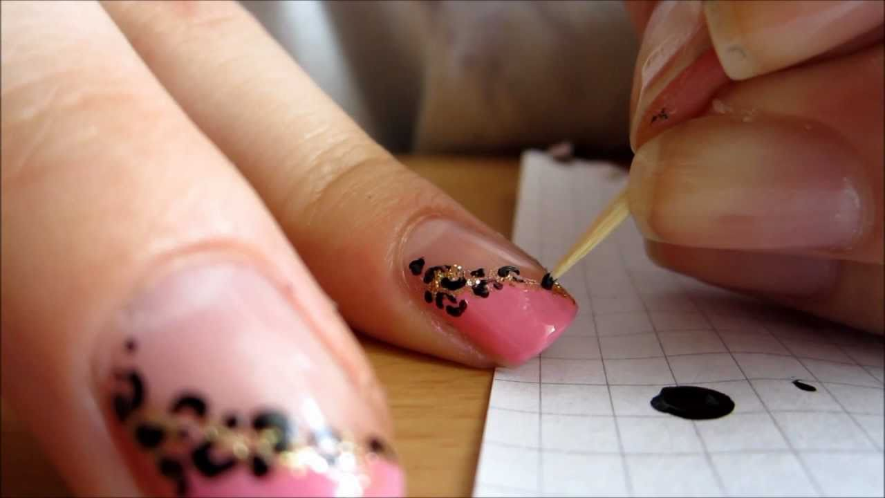 pink diagonal french manicure with leopard print tutorial youtube. Black Bedroom Furniture Sets. Home Design Ideas