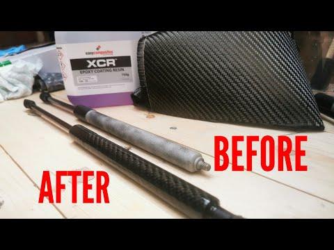 How to : DIY Carbon Fibre Skinned Bonnet + Boot Struts *Easy Composites*