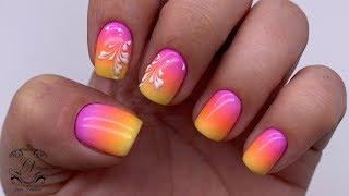 Радужно-сочный дизайн ногтей. 4-цветный градиент. Сам себе мастер. Маникюр с ремувером.