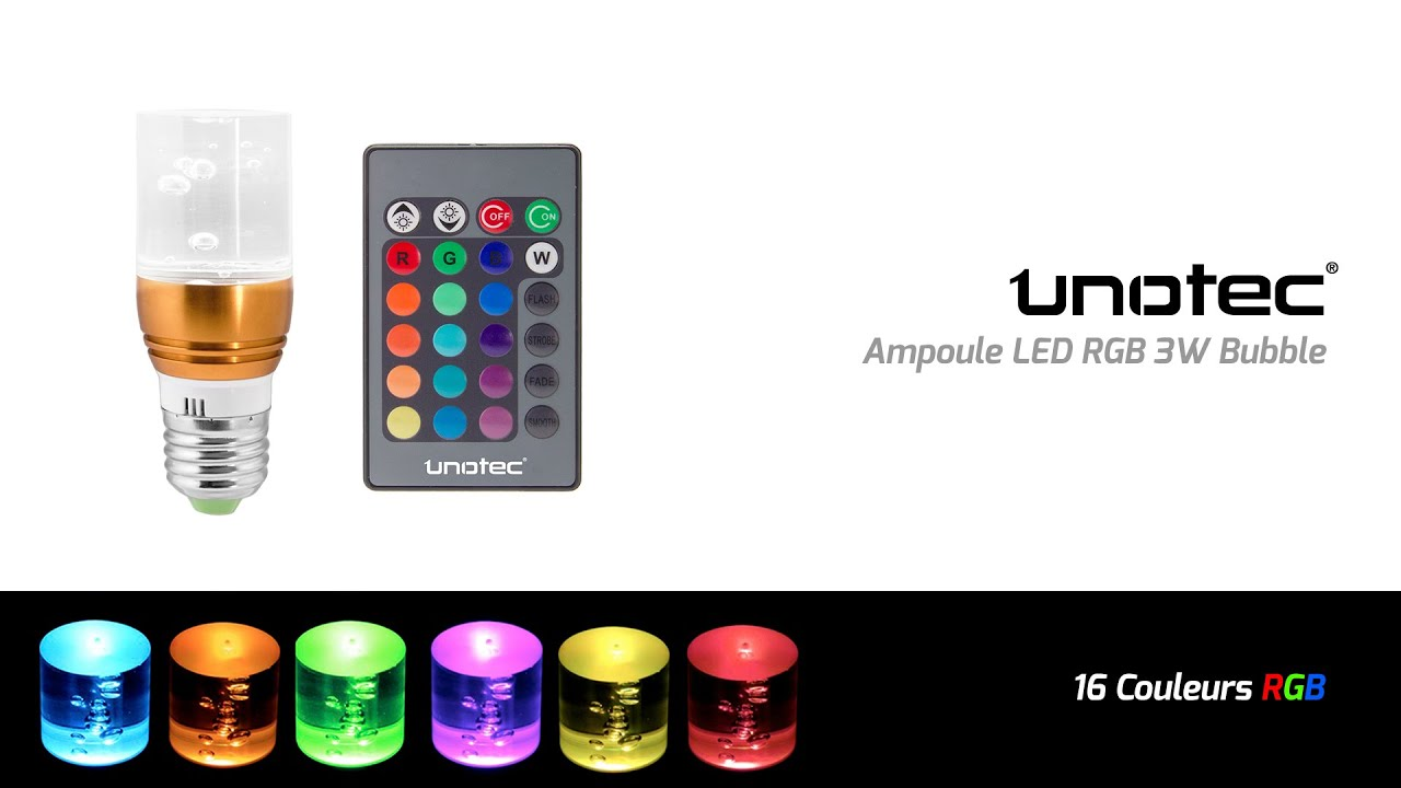 ampoule led multicolore avec t l commande 3w youtube. Black Bedroom Furniture Sets. Home Design Ideas
