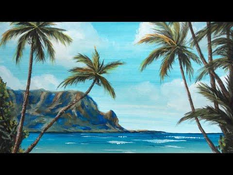 Остров с пальмами гуашью (eng Sub) Drawing Island With Palm Trees