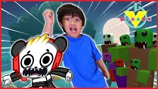 VTubers Ryan Vs. Combo Panda GHOST ZOMBIE WAVE Let's Play Roblox Zombie Attack