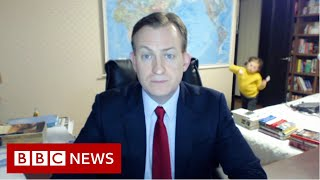 Viral dad on the trials of working from home - BBC News