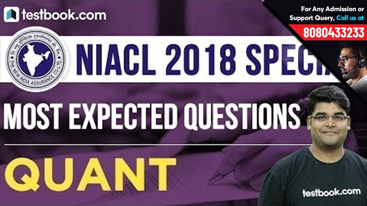 NIACL Assistant 2018 Special | Most Expected Questions in Quant | Learn with Experts!