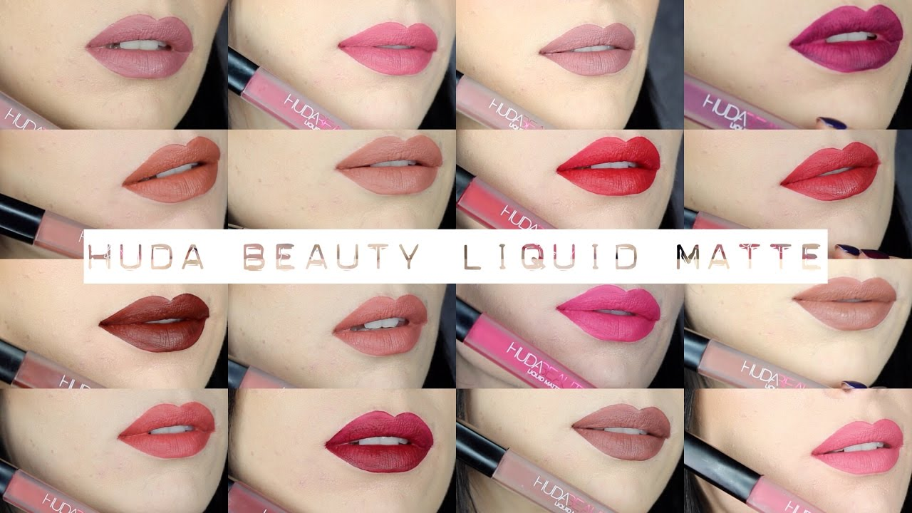 huda beauty liquid matte lipstick full collection swatch review