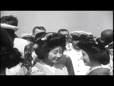 Charles Lindbergh and Anne Morrow Lindbergh arrive in Kasumigaura, Japan after fl...HD Stock Footage