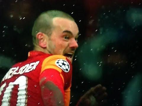 Galatasaray Juventus 1-0 goal Sneijder (HD) (SKY)