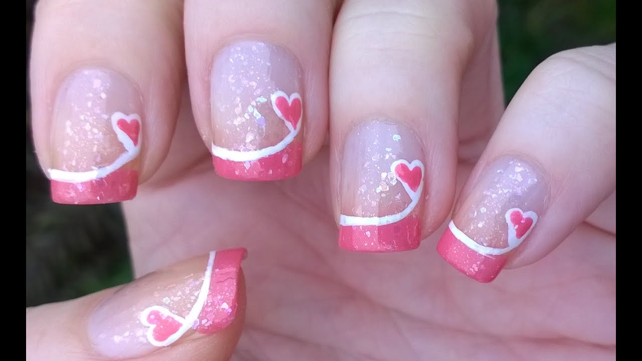 french manicure ideas 4 valentines day pink tip nails easy heart nail art youtube nail - Nail Tip Designs Ideas