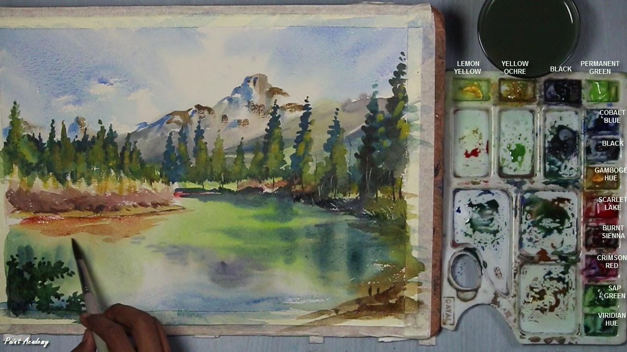 Watercolor Mountain Landscape step by step Painting