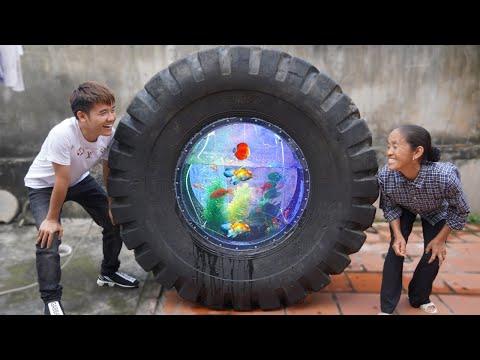 Hưng Vlog - Làm Bể Cá Bằng Lốp Oto Hỏng Khổng Lồ Tặng Mẹ Bà Tân Vlog Và Cái Kết