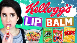 kellogg s lip balms   pop tarts   rice krispies treats   frosted flakes   apple jacks   fruit loops