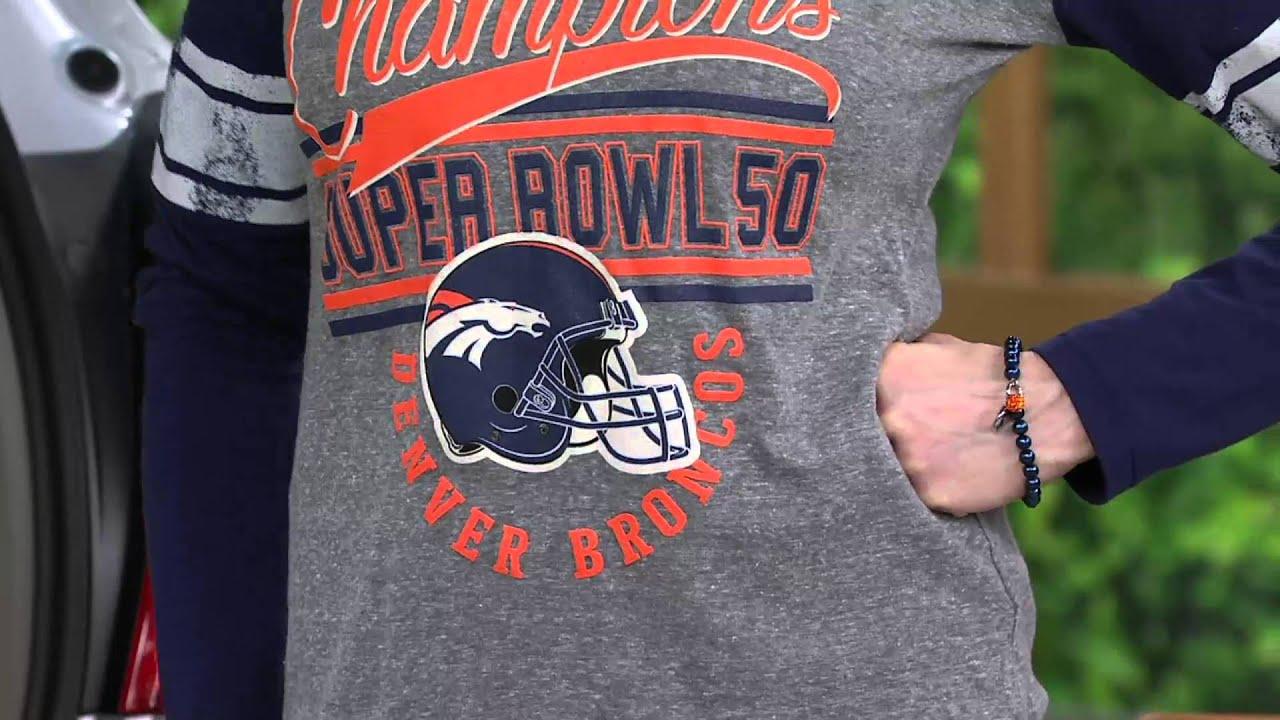 be40f286 NFL Super Bowl 50 Champions Denver Broncos Women's Long Sleeve T-Shirt on  QVC