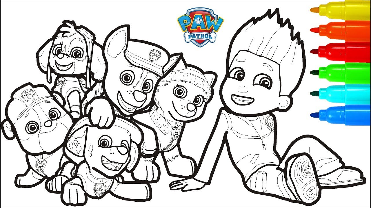 PAW PATROL Coloring Pages Markers Colouring Pages For Kids - YouTube