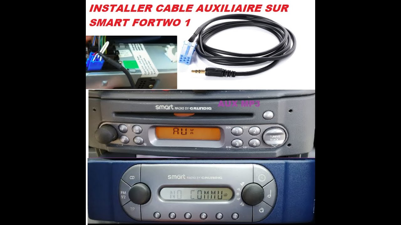 installer cable auxiliaire smart fortwo 450 pour autoradio grundig youtube. Black Bedroom Furniture Sets. Home Design Ideas