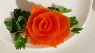 Украшение из моркови.  Как сделать розу. how to make a rose out of a carrot.