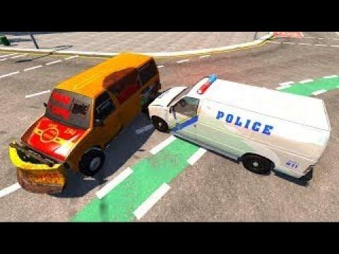 Видео игра с автомобилями - Полицейские машины Автофургон - Безопасность на дороге!