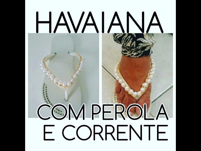 HAVAIANA  COM PÉROLA E CORRENTE