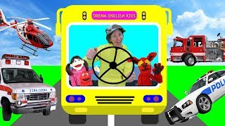 Wheels On The Bus What Do You See? Song with Matt | Emergency Vehicles | Learn English Kids