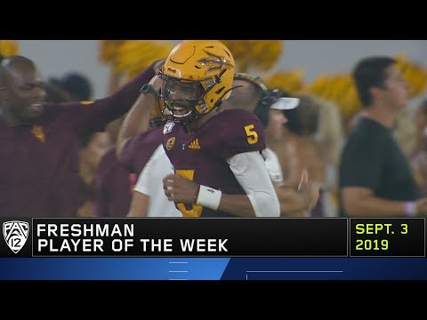 Arizona State quarterback Jayden Daniels is named Pac-12 Freshman Player of the Week in his first...