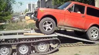 Как поставить автомобиль на Гусеничный модуль Вездеход ТСН 74?