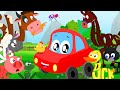 Little Red Car Rhymes - Animals Sound Song In Words World | Learn Animal Names, Sounds And Spellings