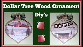 Dollar Tree Wood Ornament Diy's 🎄 Very Easy Project. So many possibilities.