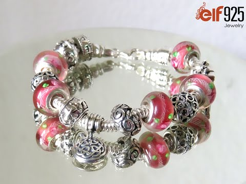 Sterling silver bracelet with oxidized filigree beads and pink artisan lampwork silver beads