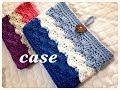 通帳ケースなどに♪3色で作るボタンループ付き収納ポーチの編み方♪Crochet☆鉤針入門☆…