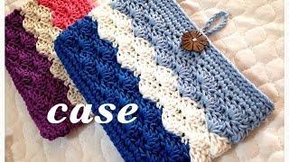 通帳ケースなどに♪3色で作るボタンループ付き収納ポーチの編み方♪Crochet☆鉤針入門☆かぎ針編み物 thumbnail