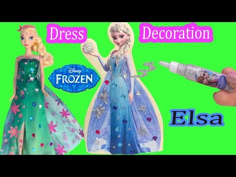 Queen Elsa Wooden Doll Glitter & Jewel Dress Decoration Craft Playset Frozen Fever Dressup Unboxing